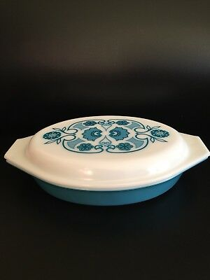 Vintage Pyrex Horizon Turquoise Blue Divided Casserole Dish W/ Lid New Never Usd
