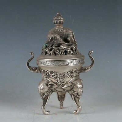 Chinese Silvering Copper Elephant Incense Burner Made During The Da Ming Xuande