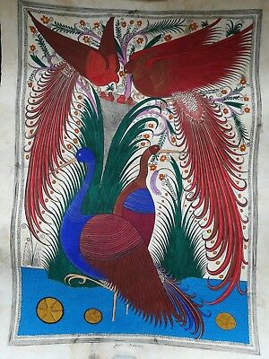 One Large Signed Mexican Papel Amate Painting, 25+ Year Old Original