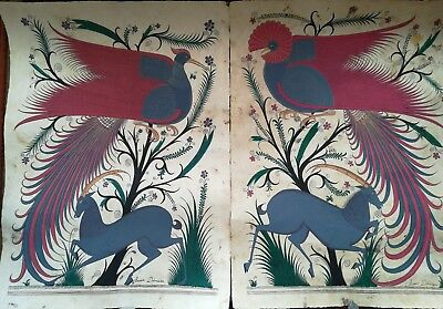 Pair of Large Signed Mexican Papel Amate Paintings, 25+ Year Old Originals