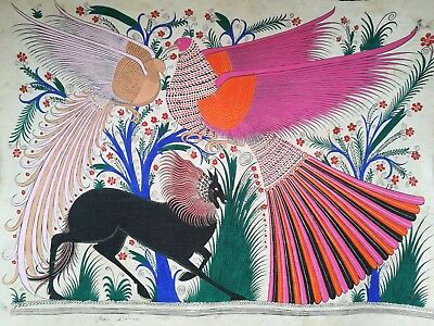 Nice Pair of Large Signed Mexican Papel Amate Paintings, 25+ Year Old Originals