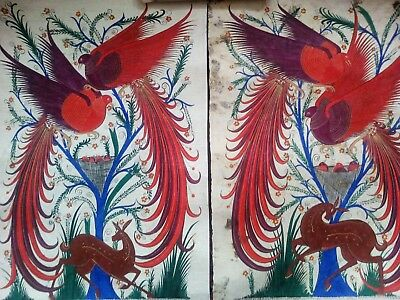 Pair of Signed Mexican Papel Amate Paintings - 25 Year Old Original Paintings