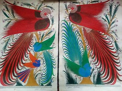Pair of Signed Mexican Papel Amate Paintings - 25+ Year Old Originals