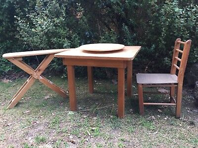 Wooden children's  table, chair and Toy Ironing Board