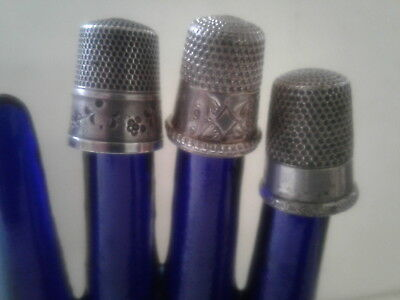 3 sterling silver antique thimbles