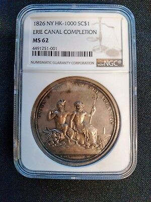 1826 HK-1000 Erie Canal Completion, Silver 45 mm, NGC MS-62, R-6 21-75 known