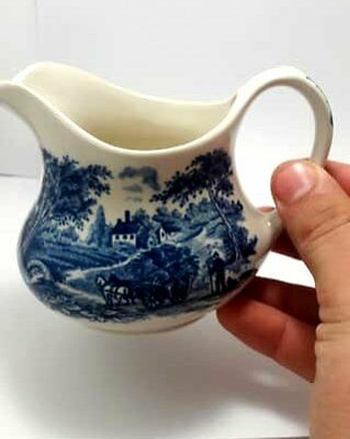 Original  Vintage-English-Ironstone-Tableware-Blue-Cream/Milk-Jug