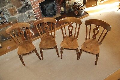 Four Antique Victorian Pierced Back Beech & Elm Farmhouse Kitchen Dining Chairs