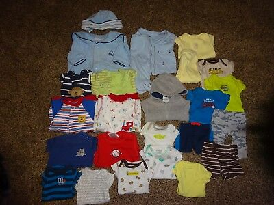 Huge 25 Piece Lot PREEMIE BOYS CLOTHES Fall/WinterSpring/summer Great Brand Name