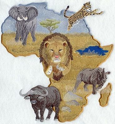 "Africa, Elephant, Rhino, Lion, Cheetah, Buffalo, Emb. Patch Size10.8""x 11.5"""