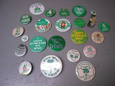 Lot Of 20 Different Vintage St.patrick's Day Pinback Buttons