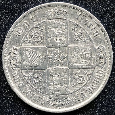 1872 Great Britain 1 Florin Coin ( Die #156 ) 11.31 Grams .925 Silver