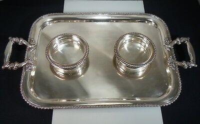 Antique German Silver Plate Double Wine Coaster Tray, Double Headed Eagle Mark