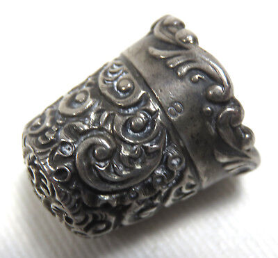 Nice! Fancy 1890S Hand Made American Antique Sterling Silver Sewing Thimble
