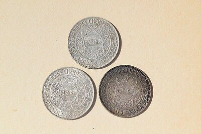 LOT of 3 Morocco AH1352 1934 5 Franc Silver Coin Y#37 Mohammed V NICE!