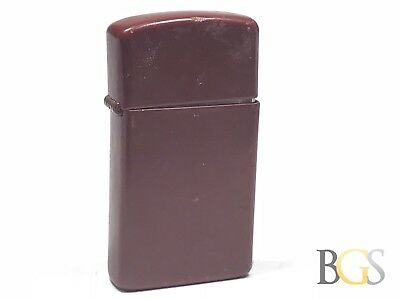 Vintage 1989 Maroon Slim Zippo Lighter - Take A Look! - Wow!