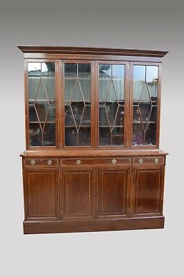 Large Antique mahogany four door library bookcase