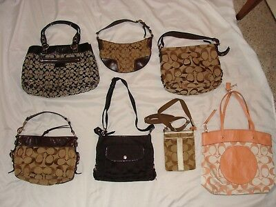 Lot Of 7 Coach Leather/canvas Logo Purses Totes Handbags Shoulder Bags