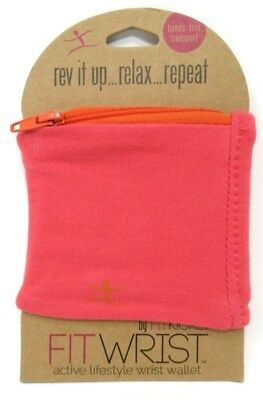 Workout Wrist Wallet by Fitkicks Stretchy Zipper Workout Wallet Fuchsia