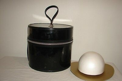 Vintage Black Tall Hat Box Luggage Suitcase Zippered Case Foam Head For Wig