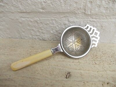 Chrome Plated Tea Strainer Faux Bone Handle Vintage Kitchenalia Prop Display