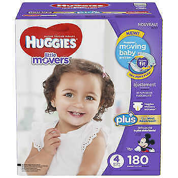 Huggies Little Movers Plus Diapers Size 4, 180-count