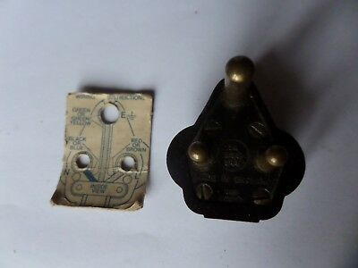Bakelite 5A 3 pin plug made by MK complete with fitting instructions card