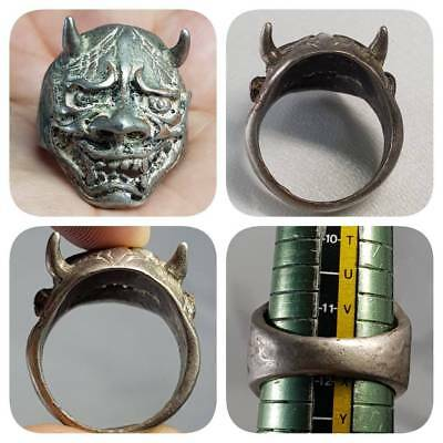 Old Rare Stunning Bronze Beautiful Devil Face Ring   # E