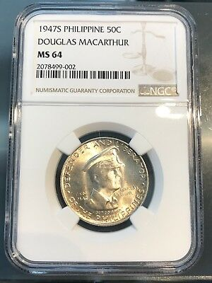 Philippines 1947 S 50 Centavos silver NGC MS64 - Free Shipping