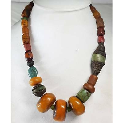 Antique Rare Lovely Amber Turquoise silver beads Stunning Necklace    # E