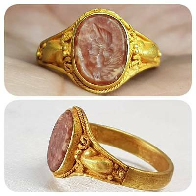 Ancient Emperor Face Agate stone Lovely Beautiful 22k Gold Ring   # E