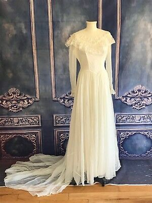 VNTG 80s Frilly Lace & Sheer Chiffon Wedding Gown w Train SMALL Ivory Long Slvs