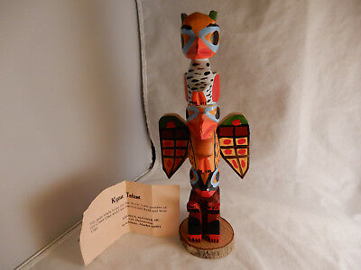 Vintage Carved Wood Kyan Totem Pole, signed George Mather Sr.