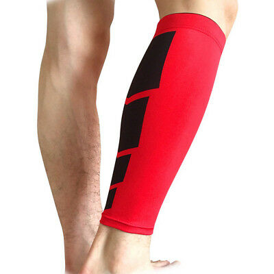 Red M Size Knee Run Protective Sleeve Leg Guard Support Brace Sport Compression