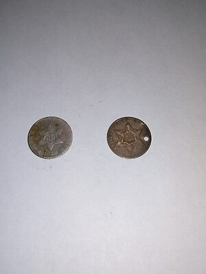 three cent  silver coins lot of 2. A011