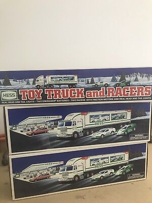 Lot of 3 Vintage Hess Trucks: 1997 toy truck and racers