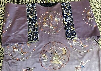 Antique Chinese Silk Robe Hand  Embroidery With Sleeve Bands