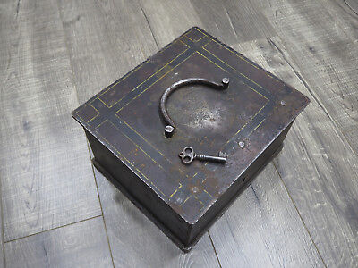 Signed Antique Russian Decorated Iron Safe Strong Box
