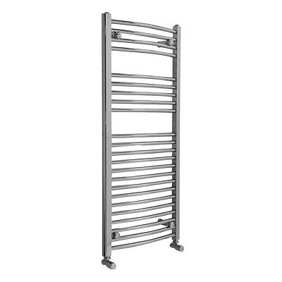 Bathroom Curved Heated Towel Rail Radiator Rad Warmer 1100 x 500 Chrome Ladder