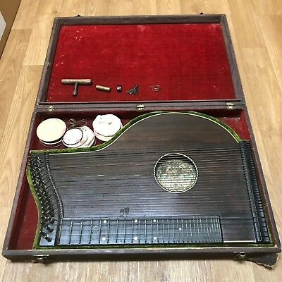 Vintage Max Amberger Zither in Case - UNTESTED - AS IS