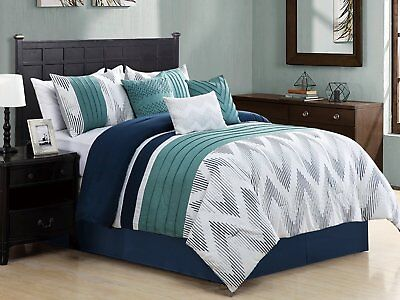 Empire Home 7 Piece Solid Chevron Queen Size Oversized Comforter Set 21208