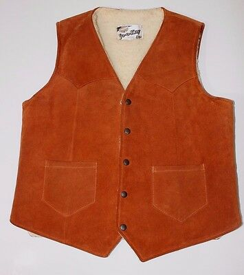 Joo Kay Vintage Men's Vest Brown Leather Sherpa Thick Heavy Lined Western 44