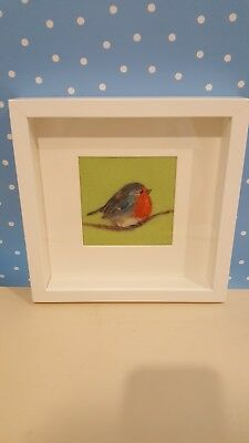 Needle felted picture. Robin