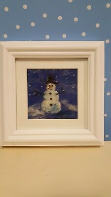 Needle felted picture. Snowman