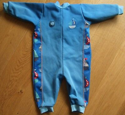 Baby Boys Blue Splash About Warm In One Swimming Suit 6-12 Months Wet Suit
