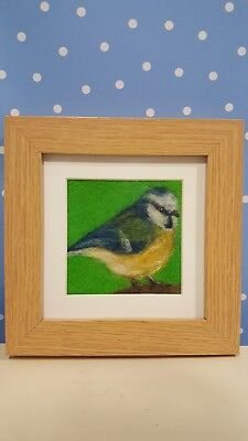 Needle felted picture. Blue tit