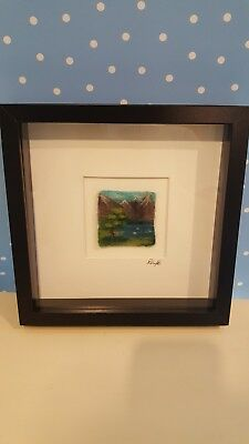 Needle felted picture mountain scenery