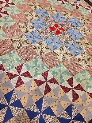 Beautiful vintage colorful WINDMILL patchwork quilt top hand made