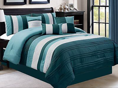 Empire Home 7 Piece Solid Elegant Stripped Oversized Comforter Set 21179