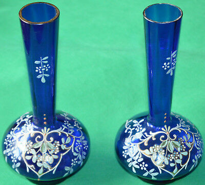 Lovely pair of overpainted Victorian blue glass vases